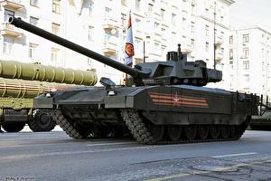 Fondos de Pantalla Carro de combate Día festivos Día de la Victoria 9 de mayo Desfile militar Ruso T-14 Armata