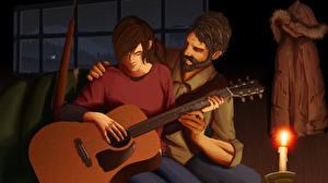 Images The Last of Us Candles Man 2 Guitar Fanart Ellie, Joel Games Girls