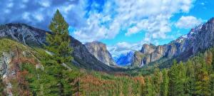 Hintergrundbilder USA Park Gebirge Wälder Landschaftsfotografie Yosemite Wolke Felsen