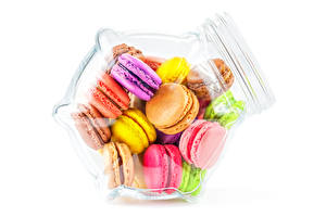 Photo White background Jar Macaron Multicolor Food
