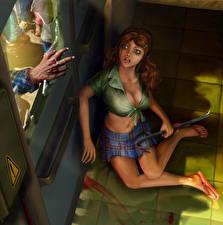 Bilder Zombie Angst Türen Fantasy Mädchens