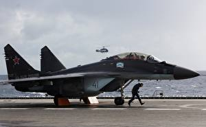 Images Aircraft carrier Airplane Russian Mikoyan MiG-29 MiG-29/35 Aviation
