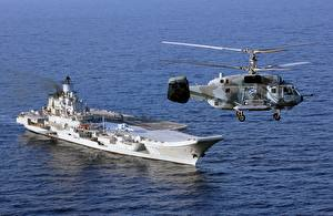 Wallpaper Aircraft carrier Helicopter Ship Russian Ka-29 Helix-B Admiral Kuznetsov Aviation Army