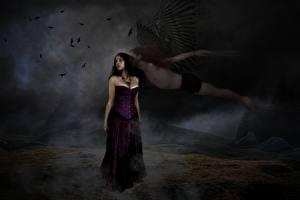 Hintergrundbilder Engeln Gothic Fantasy Brünette Nacht Fantasy Mädchens