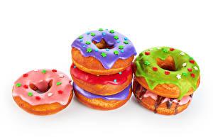 Фото Выпечка Пончики Сахарная глазурь Белом фоне Продукты питания
