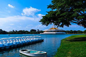 Sfondi desktop Bangkok Thailandia Parco Stagno Piccola barca Natura