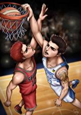 Wallpapers Basketball Two Ball Jump Teenage guy Sakuragi vs Pingris Anime