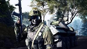 Wallpaper Battlefield 4 Soldier Assault rifle Masks APC Games Army 3D_Graphics