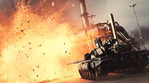 Bureaubladachtergronden Battlefield 4 Tanks Explosie Russische videogames Militair 3D_graphics