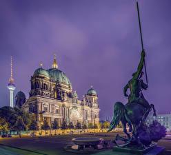 Fotos Berlin Deutschland Tempel Denkmal Abend Kathedrale