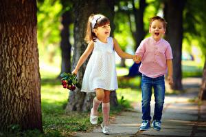 Wallpapers Boys Little girls Two Smile Dress Jeans Joy child