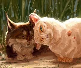 Hintergrundbilder Katze Gezeichnet 2 Süß Tiere