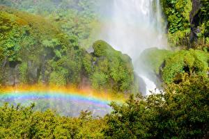 Bureaubladachtergronden Chili Parken Watervallen Regenboog Mos Struiken Conguillio National Park Salto El Leon waterfall Natuur