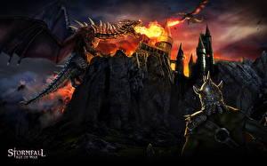Bakgrundsbilder på skrivbordet Drakar Krigare Borg Flamme Stormfall: Age of War Datorspel Fantasy