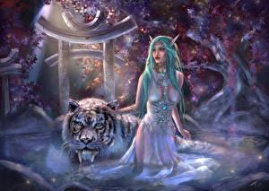 Picture Elf Tigers Magical animals Fantasy Girls Animals