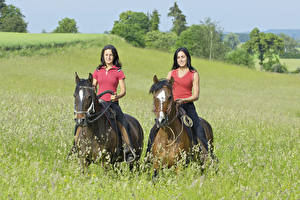 Photo Equestrian sport  Horses Grass Two Sport Girls