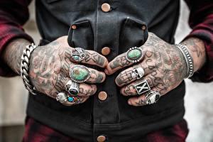 Image Fingers Closeup Skulls Hands Tattoos Ring
