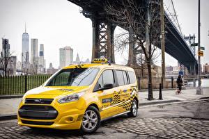 Sfondi desktop Ford Taxi - Auto Giallo Metallico 2017 Transit Connect Hybrid macchine