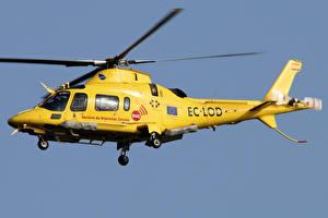 Bilder Hubschrauber Gelb Flug Agusta A.109E Power Luftfahrt