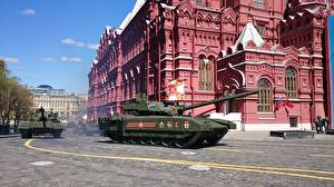 Pictures Holidays Victory Day 9 May Military parade Tanks Russian T-14 Armata