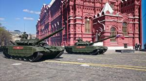 Pictures Holidays Victory Day 9 May Military parade Tanks T-72 Russian