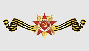 Papel de Parede Desktop Feriados Dia da Vitória 9 de maio Desenho vetorial Fundo branco Russo Ordem medalha