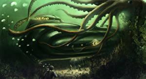 Bakgrunnsbilder Bokillustrasjoner Monstrum Undervannsverdenen Ubåt 20,000 Leagues Under the Sea Fantasy