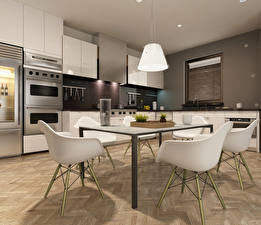 Photo Interior Design Kitchen Table Chairs Lamp High-tech style 3D Graphics
