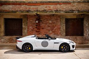 Hintergrundbilder Jaguar Weiß Seitlich Roadster UK-spec F-Type 2014 Project 7