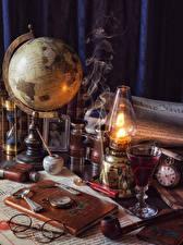 Image Paraffin lamp Clock Globe Book Glasses Shot glass Smoke