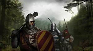 Hintergrundbilder Ritter Krieger Mittelalter Drei 3 Schild (Schutzwaffe) Helm Rüstung Fantasy