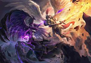 Bilder League of Legends Engeln Schlacht Magie Schwert Schlägerei Morgana vs Kayle Spiele Fantasy Mädchens