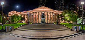 Photo Melbourne Australia Building Night time Street lights Staircase State Library Victoria Cities