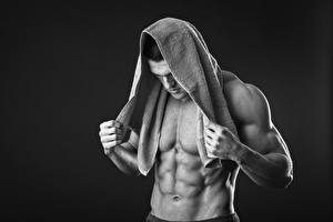 Wallpapers Men Towel Beautiful Muscle Belly Black background