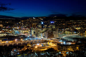 Photo Norway Building Oslo Megalopolis Night time Cities