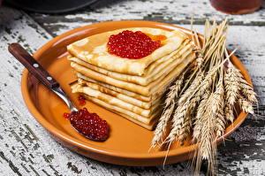 Bilder Eierkuchen Weizen Kaviar Ähre Teller Löffel Lebensmittel