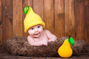 Images Pears Baby Winter hat Smile Children