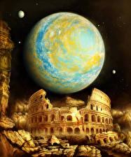 Fotos Planeten Ruinen Kolosseum Nacht Fantasy