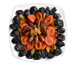 Pictures Plums Peaches Raisin Prunes Dried apricot White background Dried fruit Food