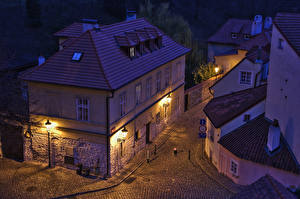 Pictures Prague Czech Republic Houses Street Night Street lights From above Nove Mesto Cities