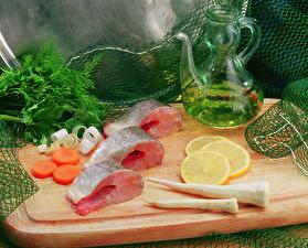 Wallpaper Seafoods Fish - Food Lemons Vegetables Dill Jugs Food