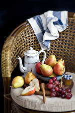 Image Still-life Grapes Pears Honey Kettle