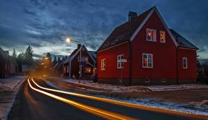 Fotos Stockholm Schweden Haus Straße Abend Straßenlaterne Straße Städte