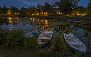Fotos Schweden Flusse Boot Schiffsanleger Natur
