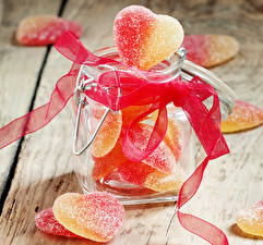 Pictures Sweets Marmalade Jar Ribbon Heart Food