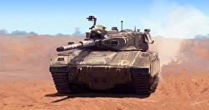 Wallpapers Tanks Painting Art Merkava military