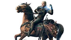 Bilder The Witcher 3: Wild Hunt Pferde Geralt von Rivia Weißer hintergrund Spiele