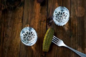Wallpaper Vodka Cucumbers Wood planks Shot glass Fork Food