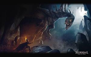 Bureaubladachtergronden Krijgers Een draak Stormfall: Age of War computerspel Fantasy