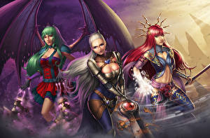 Pictures Warrior Wings Three 3 Blonde girl Redhead girl Evelyn, Adalia, Lana Solaris Fantasy Girls